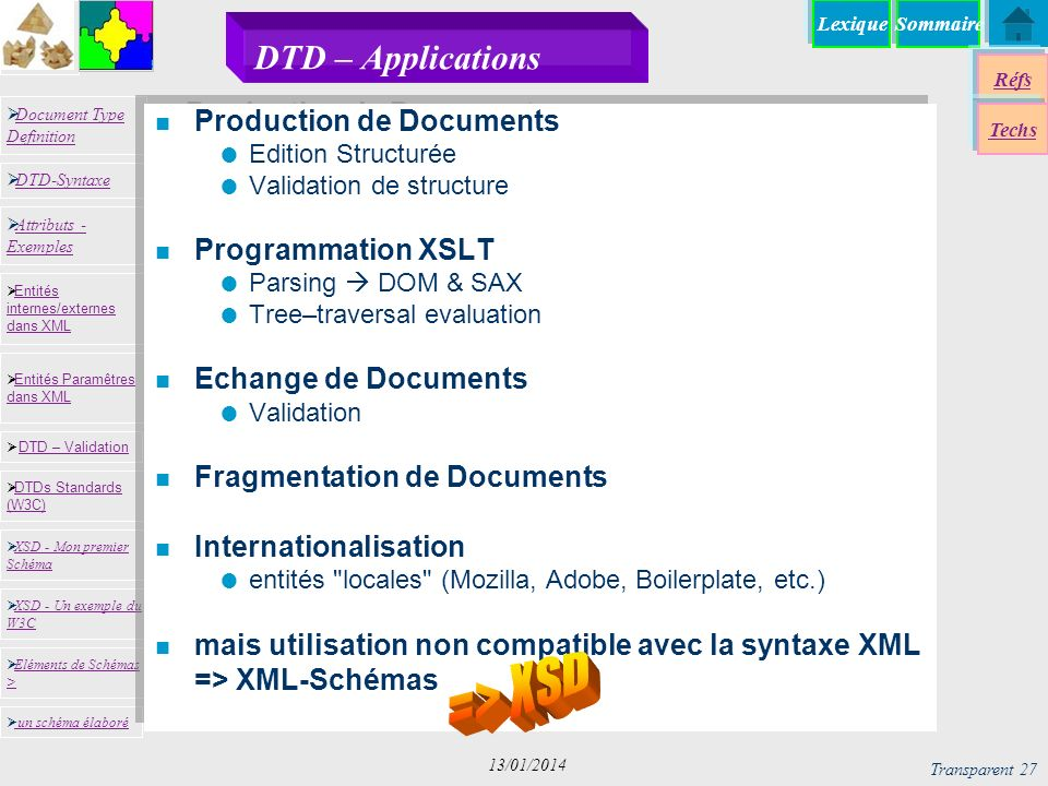 SommaireLexique Réfs Techs Document Type Definition Document Type Definition DTD-Syntaxe DTD – Validation DTD – Validation XSD - Mon premier Schéma XSD - Mon premier Schéma Entités internes/externes dans XML Entités internes/externes dans XML Entités Paramêtres dans XML Entités Paramêtres dans XML XSD - Un exemple du W3C XSD - Un exemple du W3C Eléments de Schémas > Eléments de Schémas > Attributs - Exemples Attributs - Exemples DTDs Standards (W3C) DTDs Standards (W3C) un schéma élaboré Transparent 27 13/01/2014 DTD – Applications n Production de Documents Edition Structurée Validation de structure n Programmation XSLT Parsing DOM & SAX Tree–traversal evaluation n Echange de Documents Validation n Fragmentation de Documents n Internationalisation entités locales (Mozilla, Adobe, Boilerplate, etc.) n mais utilisation non compatible avec la syntaxe XML => XML-Schémas