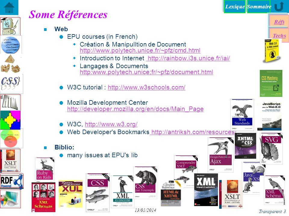 SommaireLexique Réfs Techs Transparent 4 13/01/2014 Documentation et Manuels n Documents du web liste de balises HTML code des couleurs RVB code HTML des caractères ISO liste des extensions de fichiers (formats) liste des extensions de fichiers (formats) Expressions Rationnelles n Manuels.