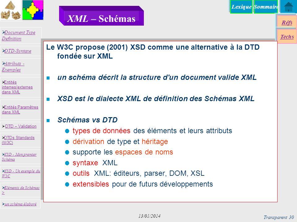 SommaireLexique Réfs Techs Document Type Definition Document Type Definition DTD-Syntaxe DTD – Validation DTD – Validation XSD - Mon premier Schéma XSD - Mon premier Schéma Entités internes/externes dans XML Entités internes/externes dans XML Entités Paramêtres dans XML Entités Paramêtres dans XML XSD - Un exemple du W3C XSD - Un exemple du W3C Eléments de Schémas > Eléments de Schémas > Attributs - Exemples Attributs - Exemples DTDs Standards (W3C) DTDs Standards (W3C) un schéma élaboré Transparent 30 13/01/2014 XML – Schémas Le W3C propose (2001) XSD comme une alternative à la DTD fondée sur XML n un schéma décrit la structure d un document valide XML n XSD est le dialecte XML de définition des Schémas XML n Schémas vs DTD types de données des éléments et leurs attributs dérivation de type et héritage supporte les espaces de noms syntaxe XML outils XML: éditeurs, parser, DOM, XSL extensibles pour de futurs développements