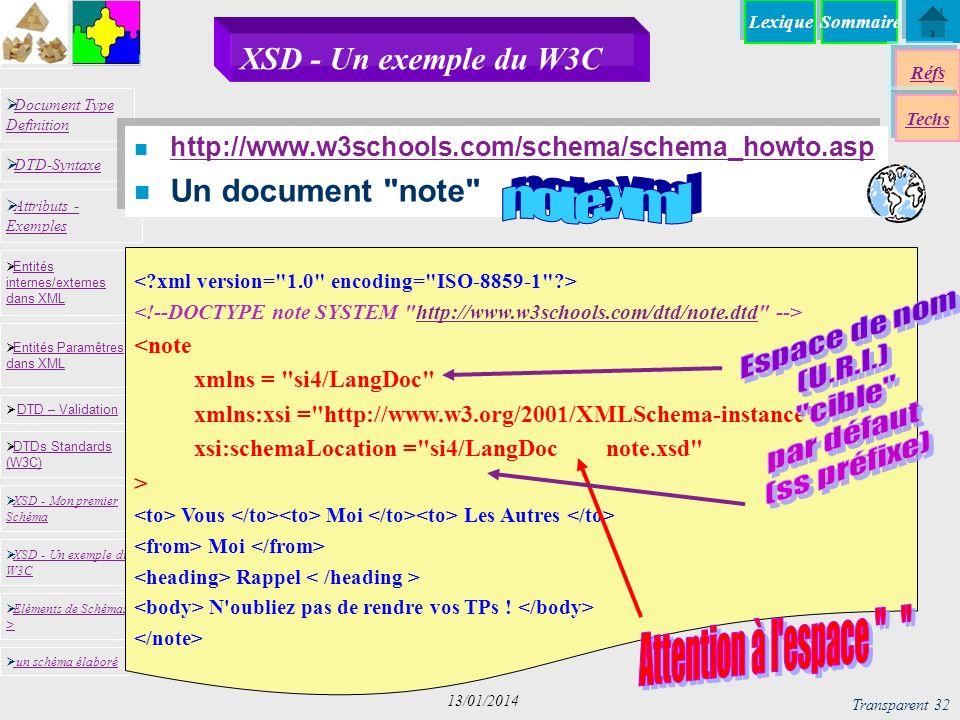 SommaireLexique Réfs Techs Document Type Definition Document Type Definition DTD-Syntaxe DTD – Validation DTD – Validation XSD - Mon premier Schéma XSD - Mon premier Schéma Entités internes/externes dans XML Entités internes/externes dans XML Entités Paramêtres dans XML Entités Paramêtres dans XML XSD - Un exemple du W3C XSD - Un exemple du W3C Eléments de Schémas > Eléments de Schémas > Attributs - Exemples Attributs - Exemples DTDs Standards (W3C) DTDs Standards (W3C) un schéma élaboré Transparent 32 13/01/2014 XSD - Un exemple du W3C n http://www.w3schools.com/schema/schema_howto.asp http://www.w3schools.com/schema/schema_howto.asp n Un document note http://www.w3schools.com/dtd/note.dtd <note xmlns = si4/LangDoc xmlns:xsi = http://www.w3.org/2001/XMLSchema-instance xsi:schemaLocation = si4/LangDoc note.xsd > Vous Moi Les Autres Moi Rappel N oubliez pas de rendre vos TPs !