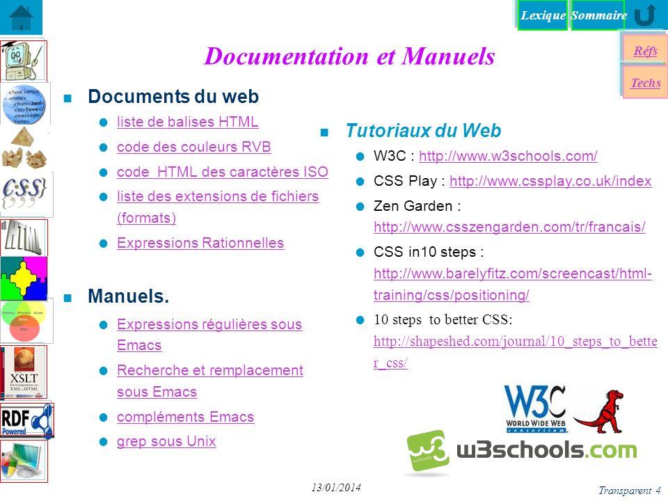 SommaireLexique Réfs Techs Transparent 5 13/01/2014 Références Web