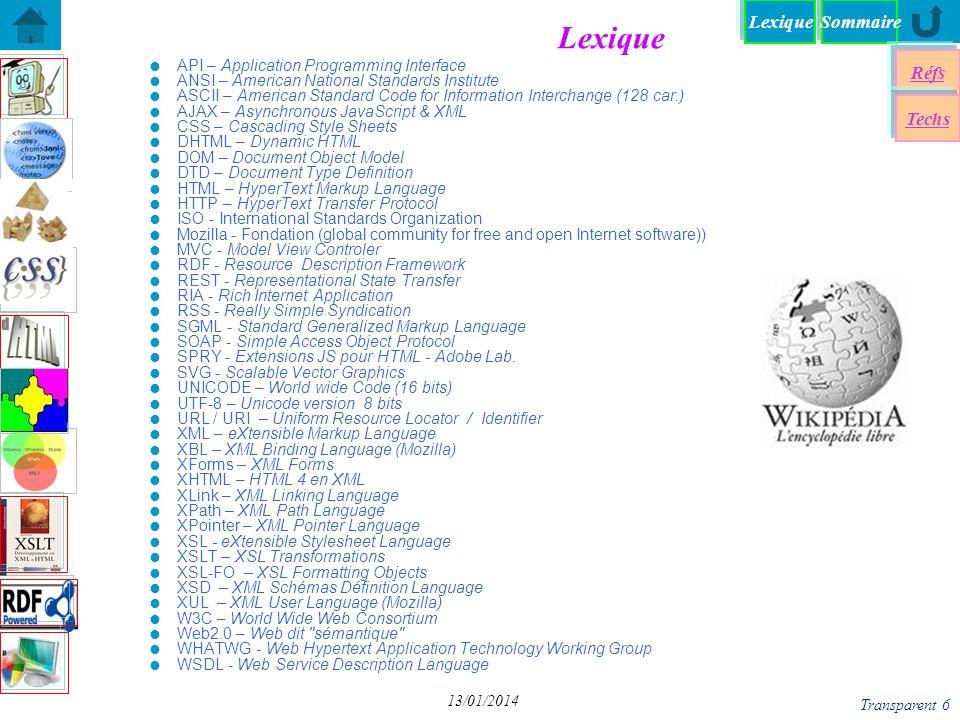 SommaireLexique Réfs Techs Document Type Definition Document Type Definition DTD-Syntaxe DTD – Validation DTD – Validation XSD - Mon premier Schéma XSD - Mon premier Schéma Entités internes/externes dans XML Entités internes/externes dans XML Entités Paramêtres dans XML Entités Paramêtres dans XML XSD - Un exemple du W3C XSD - Un exemple du W3C Eléments de Schémas > Eléments de Schémas > Attributs - Exemples Attributs - Exemples DTDs Standards (W3C) DTDs Standards (W3C) un schéma élaboré Transparent 27 13/01/2014 DTD – Applications n Production de Documents Edition Structurée Validation de structure n Programmation XSLT Parsing DOM & SAX Tree–traversal evaluation n Echange de Documents Validation n Fragmentation de Documents n Internationalisation entités locales (Mozilla, Adobe, Boilerplate, etc.) n mais utilisation non compatible avec la syntaxe XML => XML-Schémas