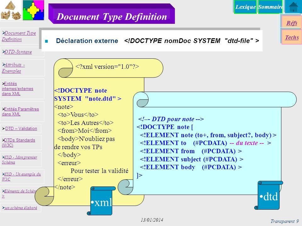 SommaireLexique Réfs Techs Document Type Definition Document Type Definition DTD-Syntaxe DTD – Validation DTD – Validation XSD - Mon premier Schéma XSD - Mon premier Schéma Entités internes/externes dans XML Entités internes/externes dans XML Entités Paramêtres dans XML Entités Paramêtres dans XML XSD - Un exemple du W3C XSD - Un exemple du W3C Eléments de Schémas > Eléments de Schémas > Attributs - Exemples Attributs - Exemples DTDs Standards (W3C) DTDs Standards (W3C) un schéma élaboré Transparent 20 13/01/2014 Données vs Document (1) n Description rigide avec un ordre imposé des éléments <!DOCTYPE personne [ <!ATTLIST nom prenom CDATA #REQUIRED famille CDATA #REQUIRED> ]>