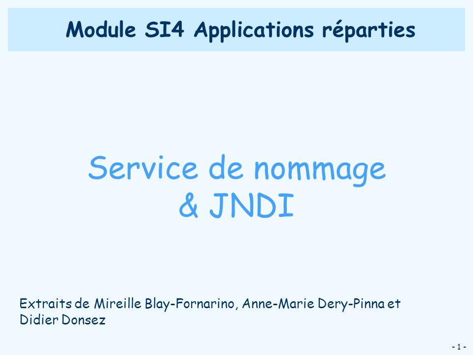 - 1 - Module SI4 Applications réparties Service de nommage & JNDI Extraits de Mireille Blay-Fornarino, Anne-Marie Dery-Pinna et Didier Donsez