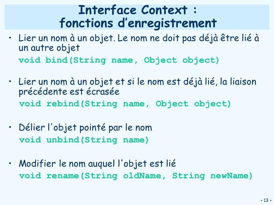 - 13 - Interface Context : fonctions denregistrement Lier un nom à un objet. Le nom ne doit pas déjà être lié à un autre objet void bind(String name,