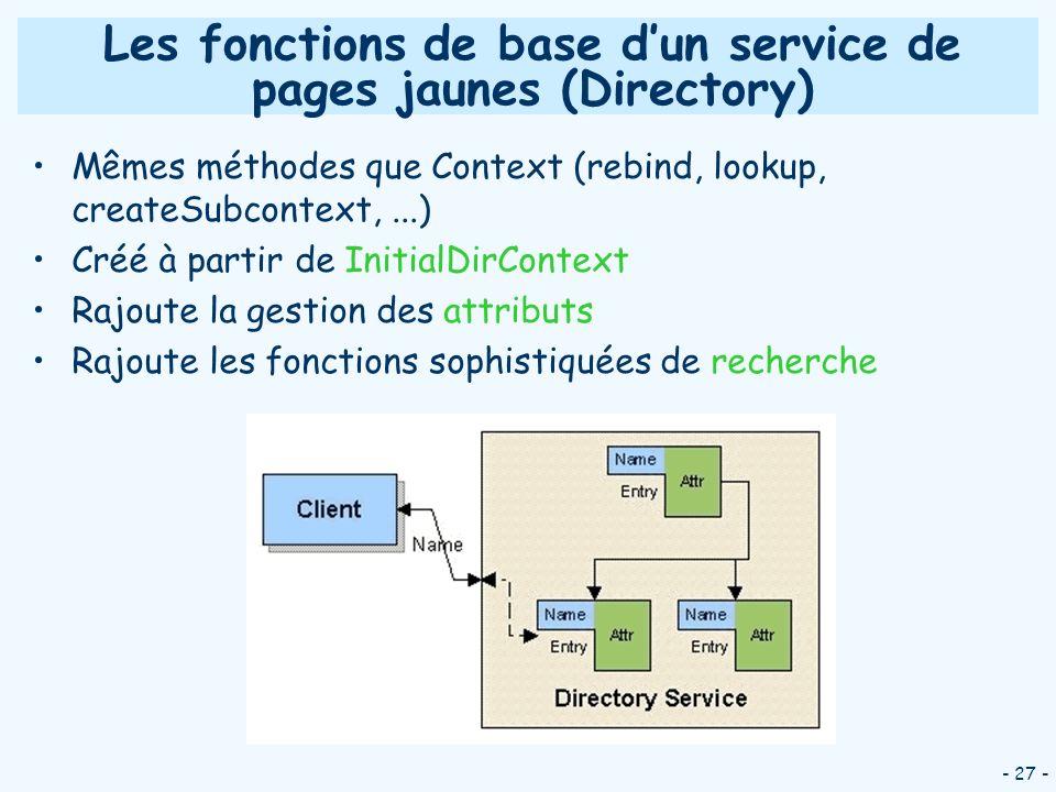 - 27 - Les fonctions de base dun service de pages jaunes (Directory) Mêmes méthodes que Context (rebind, lookup, createSubcontext,...) Créé à partir d