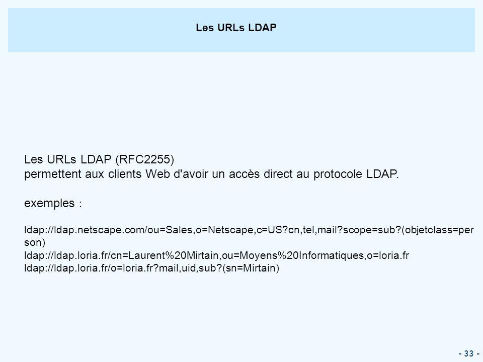 - 33 - Les URLs LDAP Les URLs LDAP (RFC2255) permettent aux clients Web d'avoir un accès direct au protocole LDAP. exemples : ldap://ldap.netscape.com