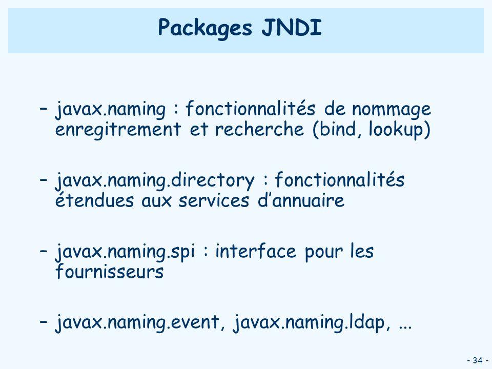 - 34 - Packages JNDI –javax.naming : fonctionnalités de nommage enregitrement et recherche (bind, lookup) –javax.naming.directory : fonctionnalités ét