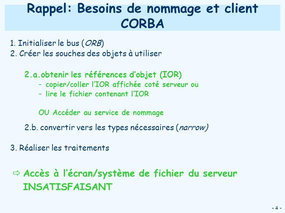 - 25 - Utilisation du service de nommage CORBA: Configuration & exécution Lancement du service de nommage –Sous Windows : java com.ooc.CosNaming.Server –Sous Linux : nameserv –Utiliser loption -i pour afficher lIOR puis exécuter la commande iordump pour voir la machine et le port sur lequel le service est lançé Lancement dun serveur/client avec loption : -ORBInitRef NameService=corbaloc:iiop:host:port/NameService ajoute le service de nom NameService à la liste des services initiaux de lORB en précisant où trouver le service Pas de transparence vis-à-vis du service utilisé
