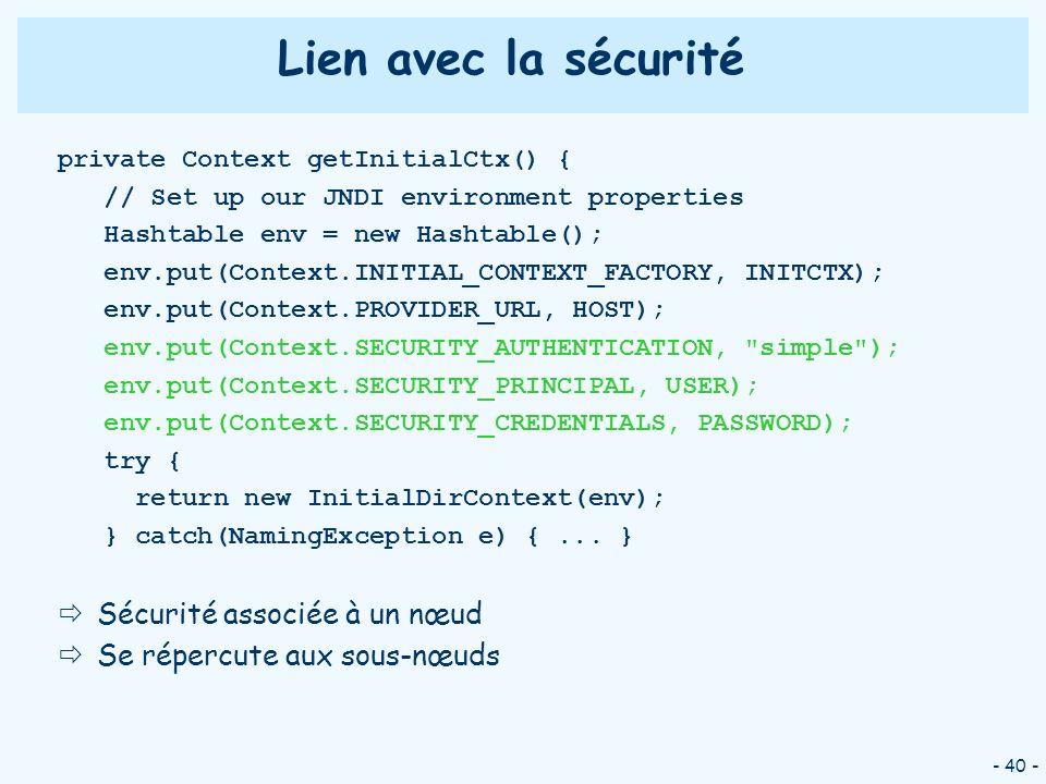 - 40 - Lien avec la sécurité private Context getInitialCtx() { // Set up our JNDI environment properties Hashtable env = new Hashtable(); env.put(Cont