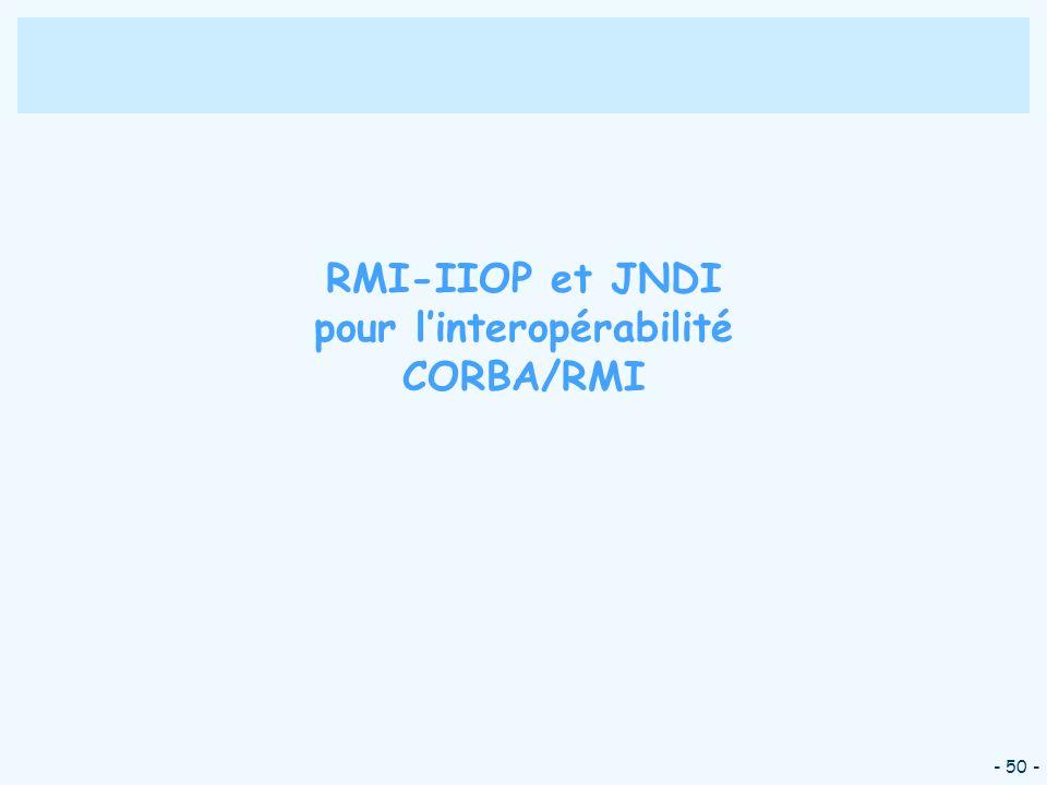 - 50 - RMI-IIOP et JNDI pour linteropérabilité CORBA/RMI