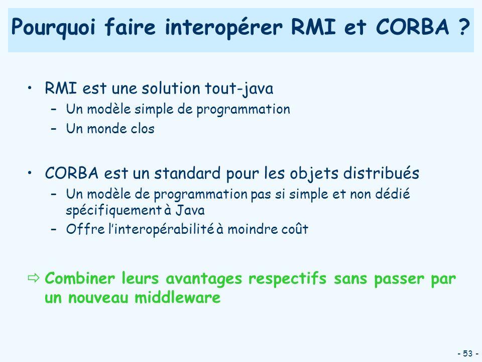 - 53 - Pourquoi faire interopérer RMI et CORBA ? RMI est une solution tout-java –Un modèle simple de programmation –Un monde clos CORBA est un standar