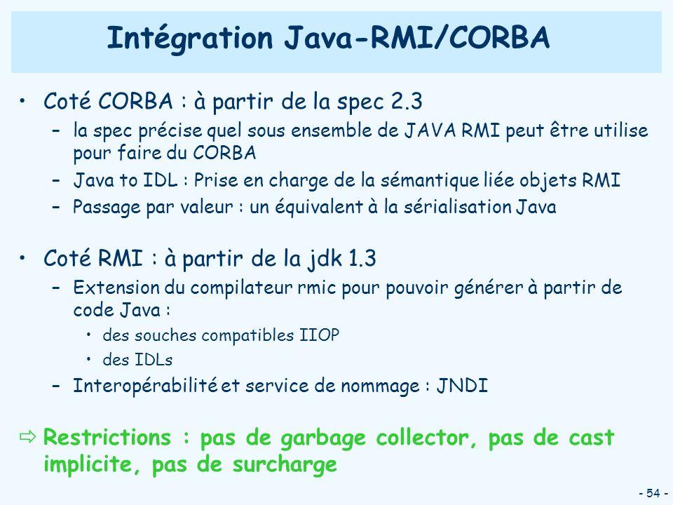 - 54 - Coté CORBA : à partir de la spec 2.3 –la spec précise quel sous ensemble de JAVA RMI peut être utilise pour faire du CORBA –Java to IDL : Prise