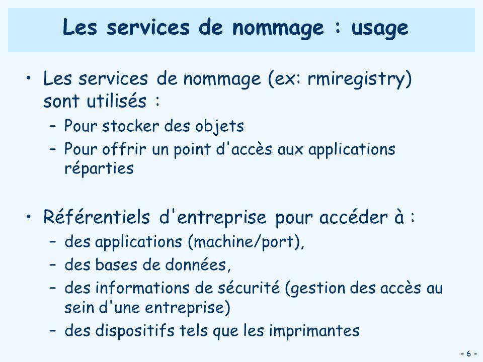 - 6 - Les services de nommage : usage Les services de nommage (ex: rmiregistry) sont utilisés : –Pour stocker des objets –Pour offrir un point d'accès
