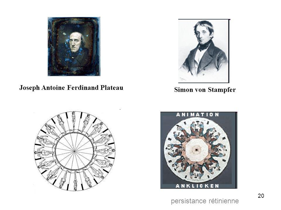 19 références Effet stroboscopique : Plateau, von Stampfer (1830) Analyse du mouvement, Chronophotographie : Muybridge, Marey (1870) Cinématographe :