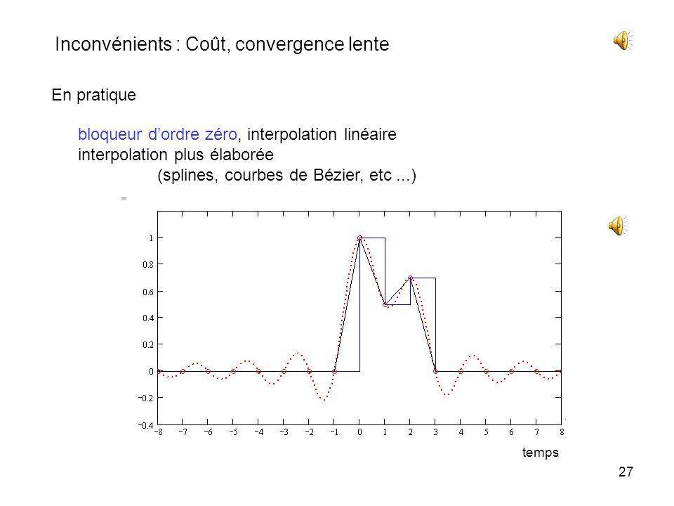 26 Aux instants déchantillonnage nT ech toutes les composantes de la somme sont nulles sauf une qui a pour valeur celle de léchantillon x(nT ech ) rec