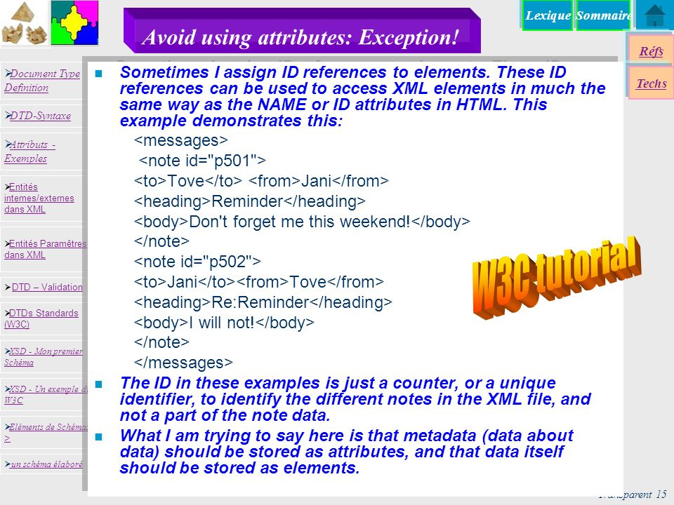 SommaireLexique Réfs Techs Document Type Definition Document Type Definition DTD-Syntaxe DTD – Validation DTD – Validation XSD - Mon premier Schéma XSD - Mon premier Schéma Entités internes/externes dans XML Entités internes/externes dans XML Entités Paramêtres dans XML Entités Paramêtres dans XML XSD - Un exemple du W3C XSD - Un exemple du W3C Eléments de Schémas > Eléments de Schémas > Attributs - Exemples Attributs - Exemples DTDs Standards (W3C) DTDs Standards (W3C) un schéma élaboré Transparent 15 13/01/2014 Avoid using attributes: Exception.