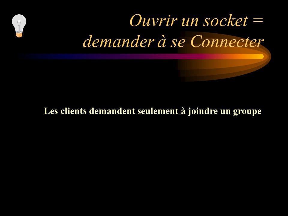 Ouvrir un socket = demander à se Connecter Les clients demandent seulement à joindre un groupe