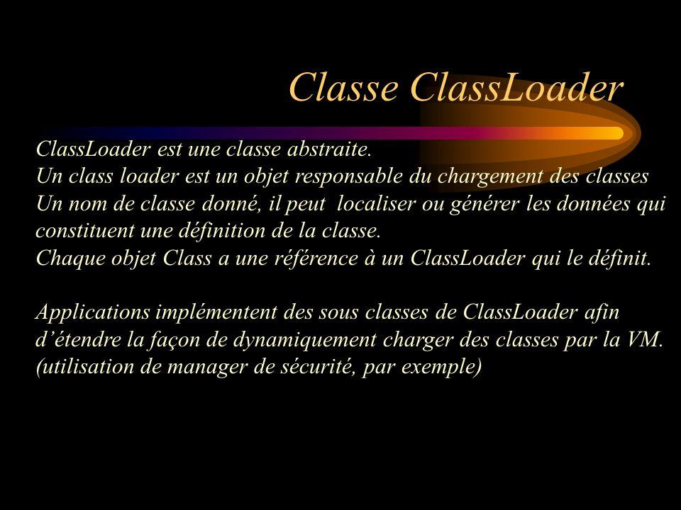 Classe ClassLoader ClassLoader est une classe abstraite. Un class loader est un objet responsable du chargement des classes Un nom de classe donné, il