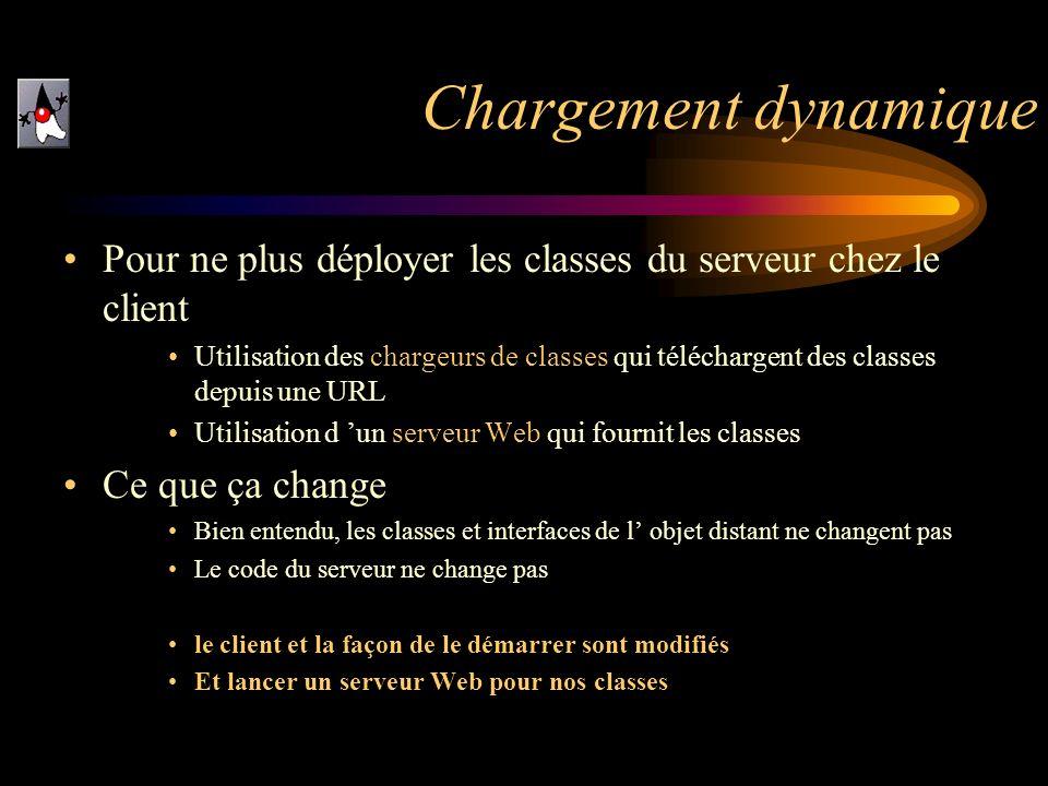 Pour ne plus déployer les classes du serveur chez le client Utilisation des chargeurs de classes qui téléchargent des classes depuis une URL Utilisati