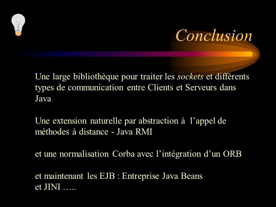 Conclusion Une large bibliothèque pour traiter les sockets et différents types de communication entre Clients et Serveurs dans Java Une extension natu