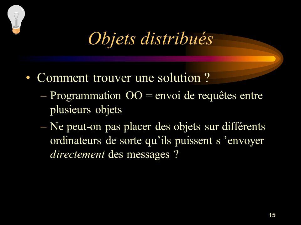 15 Objets distribués Comment trouver une solution ? –Programmation OO = envoi de requêtes entre plusieurs objets –Ne peut-on pas placer des objets sur