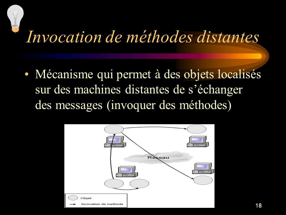 18 Invocation de méthodes distantes Mécanisme qui permet à des objets localisés sur des machines distantes de séchanger des messages (invoquer des mét