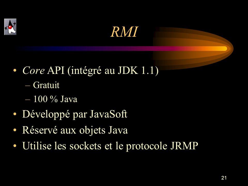 21 RMI Core API (intégré au JDK 1.1) –Gratuit –100 % Java Développé par JavaSoft Réservé aux objets Java Utilise les sockets et le protocole JRMP