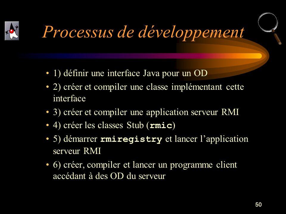 50 1) définir une interface Java pour un OD 2) créer et compiler une classe implémentant cette interface 3) créer et compiler une application serveur