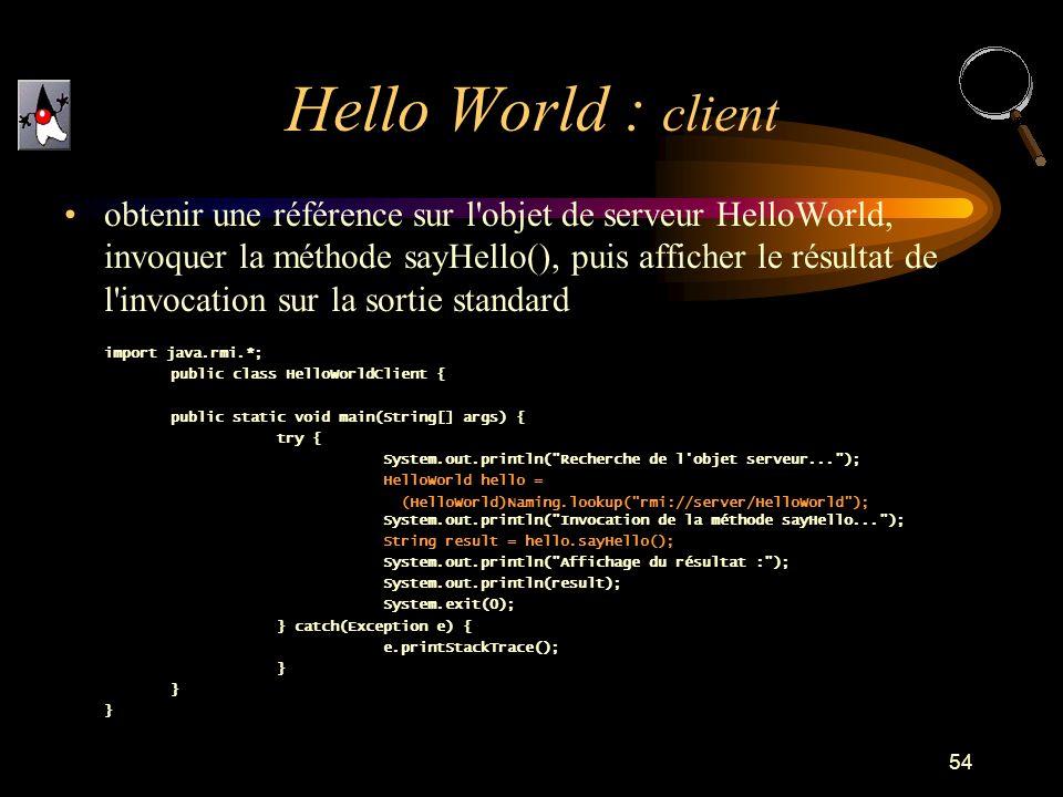 54 obtenir une référence sur l'objet de serveur HelloWorld, invoquer la méthode sayHello(), puis afficher le résultat de l'invocation sur la sortie st