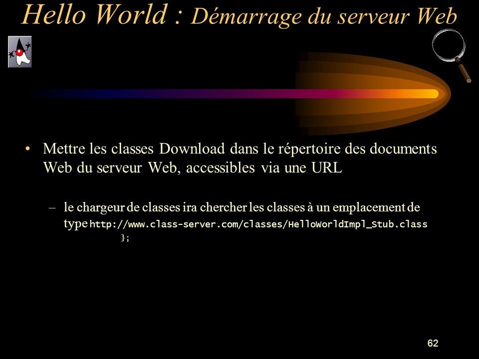 62 Mettre les classes Download dans le répertoire des documents Web du serveur Web, accessibles via une URL –le chargeur de classes ira chercher les c