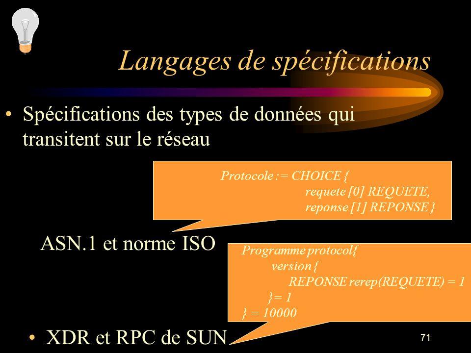 71 Langages de spécifications Spécifications des types de données qui transitent sur le réseau XDR et RPC de SUN Protocole := CHOICE { requete [0] REQ