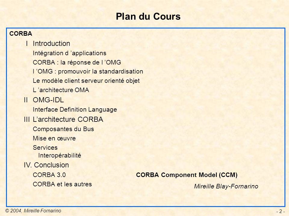 © 2004, Mireille Fornarino - 13 - Requête Emise par un client pour demander lexécution dune opération sur un objet cible.