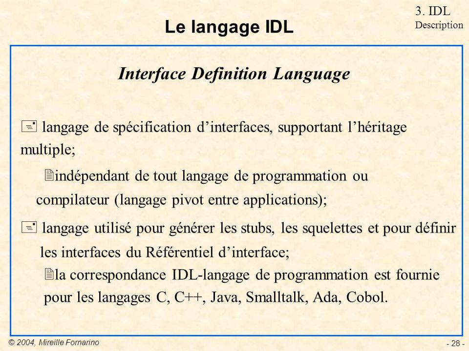 © 2004, Mireille Fornarino - 28 - Le langage IDL Interface Definition Language + langage de spécification dinterfaces, supportant lhéritage multiple; 2indépendant de tout langage de programmation ou compilateur (langage pivot entre applications); + langage utilisé pour générer les stubs, les squelettes et pour définir les interfaces du Référentiel dinterface; 2la correspondance IDL-langage de programmation est fournie pour les langages C, C++, Java, Smalltalk, Ada, Cobol.