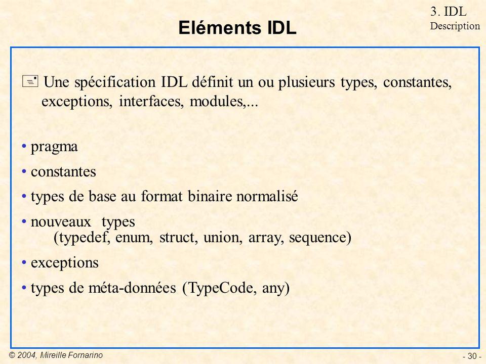 © 2004, Mireille Fornarino - 30 - Eléments IDL + Une spécification IDL définit un ou plusieurs types, constantes, exceptions, interfaces, modules,...