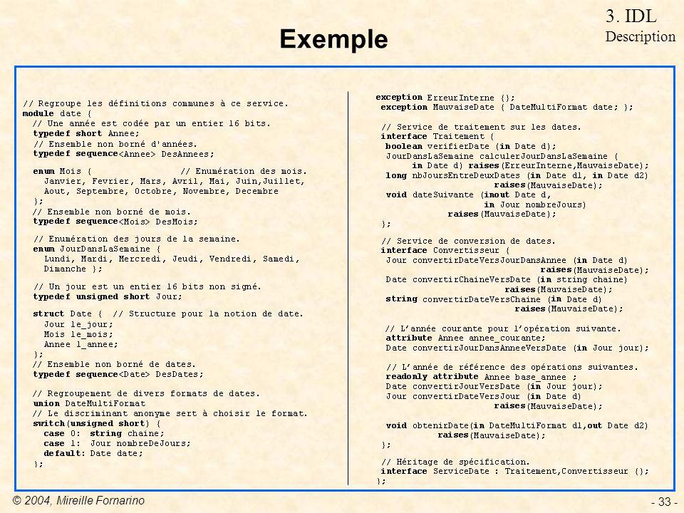 © 2004, Mireille Fornarino - 33 - Exemple 3. IDL Description