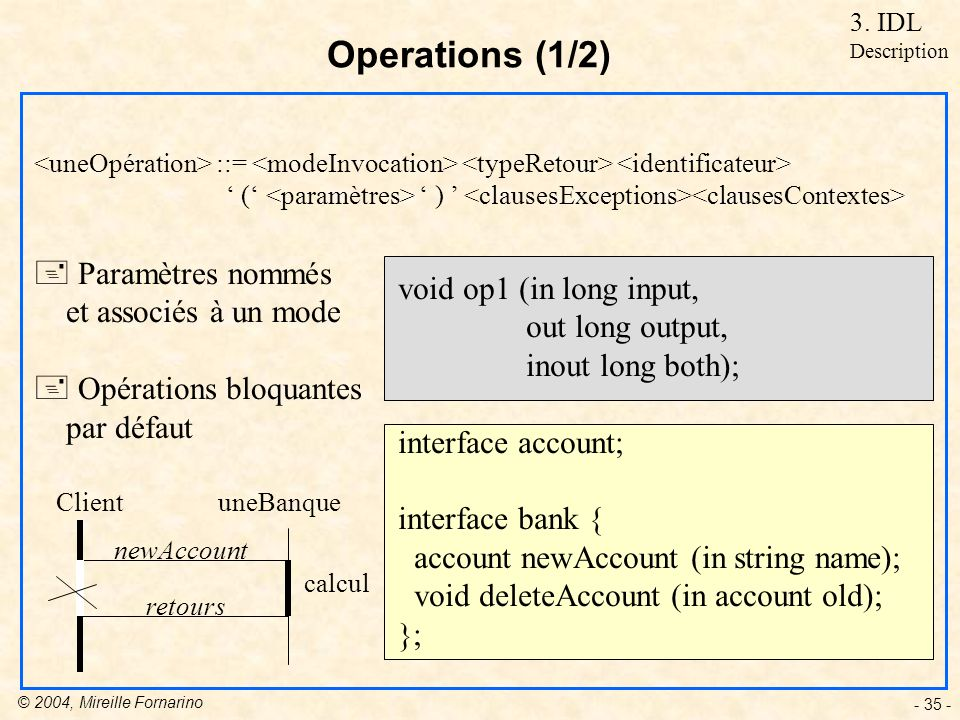 © 2004, Mireille Fornarino - 35 - void op1 (in long input, out long output, inout long both); interface account; interface bank { account newAccount (