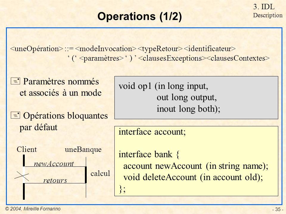 © 2004, Mireille Fornarino - 35 - void op1 (in long input, out long output, inout long both); interface account; interface bank { account newAccount (in string name); void deleteAccount (in account old); }; Operations (1/2) + Paramètres nommés et associés à un mode + Opérations bloquantes par défaut ::= ( ) ClientuneBanque newAccount calcul retours 3.