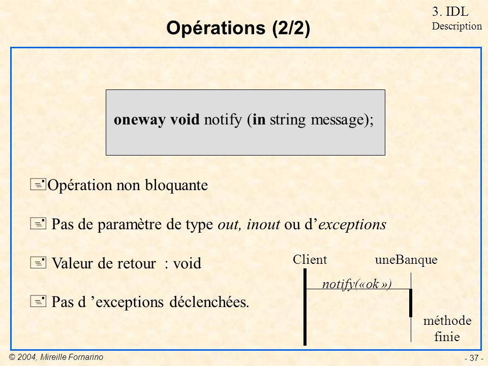 © 2004, Mireille Fornarino - 37 - Opérations (2/2) oneway void notify (in string message); +Opération non bloquante + Pas de paramètre de type out, in