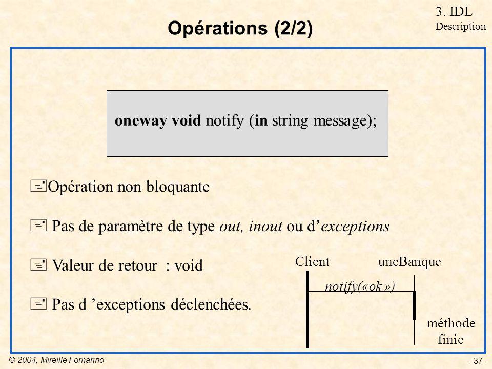 © 2004, Mireille Fornarino - 37 - Opérations (2/2) oneway void notify (in string message); +Opération non bloquante + Pas de paramètre de type out, inout ou dexceptions + Valeur de retour : void + Pas d exceptions déclenchées.