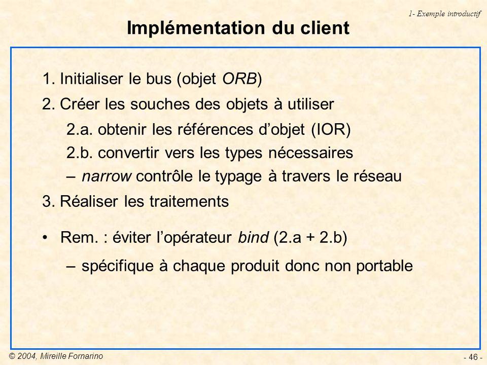 © 2004, Mireille Fornarino - 46 - Implémentation du client 1- Exemple introductif 1.