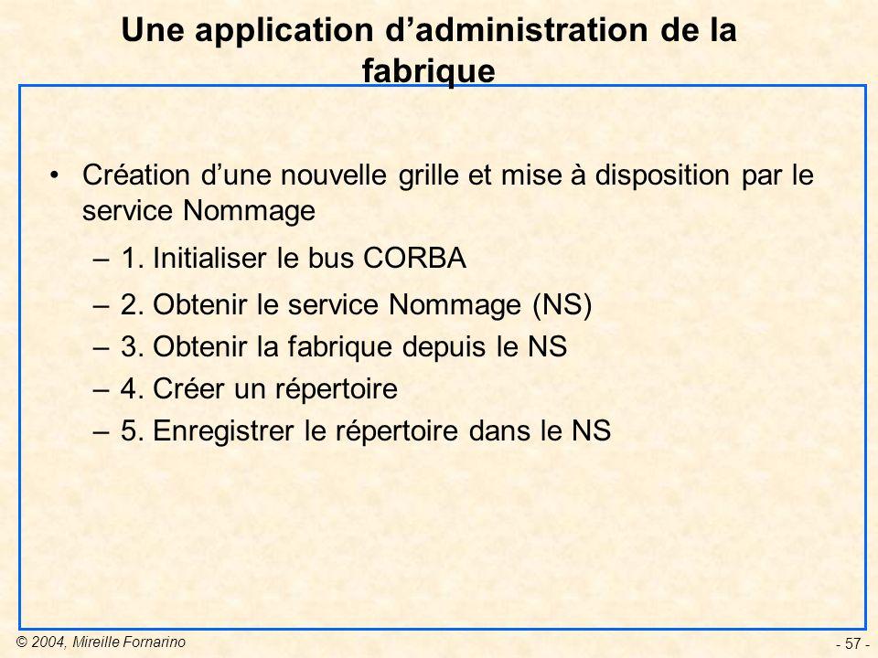 © 2004, Mireille Fornarino - 57 - Création dune nouvelle grille et mise à disposition par le service Nommage –1.