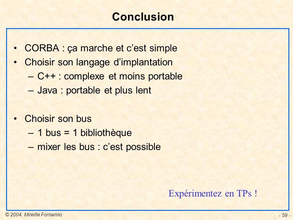 © 2004, Mireille Fornarino - 59 - Conclusion CORBA : ça marche et cest simple Choisir son langage dimplantation –C++ : complexe et moins portable –Java : portable et plus lent Choisir son bus –1 bus = 1 bibliothèque –mixer les bus : cest possible Expérimentez en TPs !