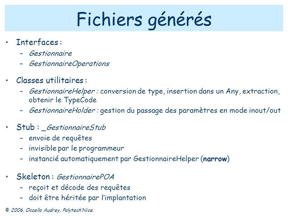 © 2006, Occello Audrey, PolytechNice. Fichiers générés Interfaces : –Gestionnaire –GestionnaireOperations Classes utilitaires : –GestionnaireHelper :