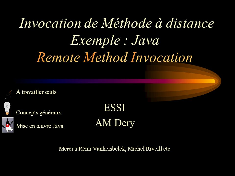 Invocation de Méthode à distance Exemple : Java Remote Method Invocation ESSI AM Dery Merci à Rémi Vankeisbelck, Michel Riveill etc À travailler seuls