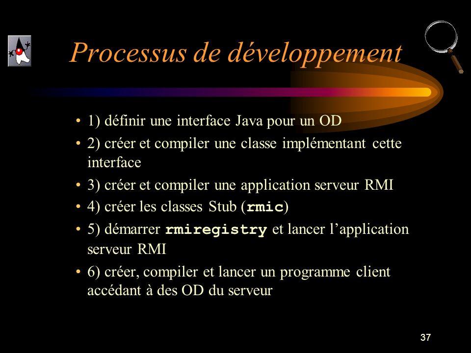 37 1) définir une interface Java pour un OD 2) créer et compiler une classe implémentant cette interface 3) créer et compiler une application serveur