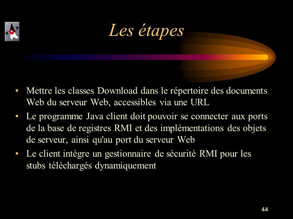 44 Mettre les classes Download dans le répertoire des documents Web du serveur Web, accessibles via une URL Le programme Java client doit pouvoir se c