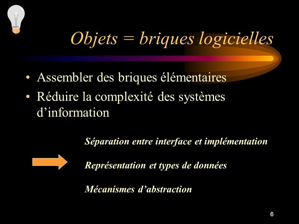 6 Objets = briques logicielles Assembler des briques élémentaires Réduire la complexité des systèmes dinformation Séparation entre interface et implém