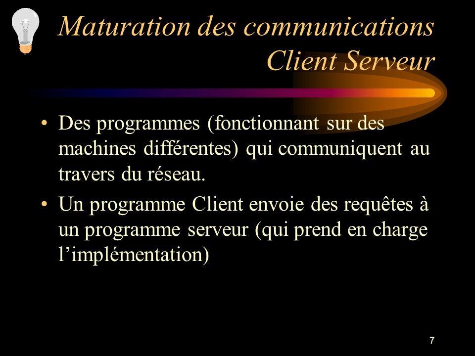 7 Maturation des communications Client Serveur Des programmes (fonctionnant sur des machines différentes) qui communiquent au travers du réseau. Un pr