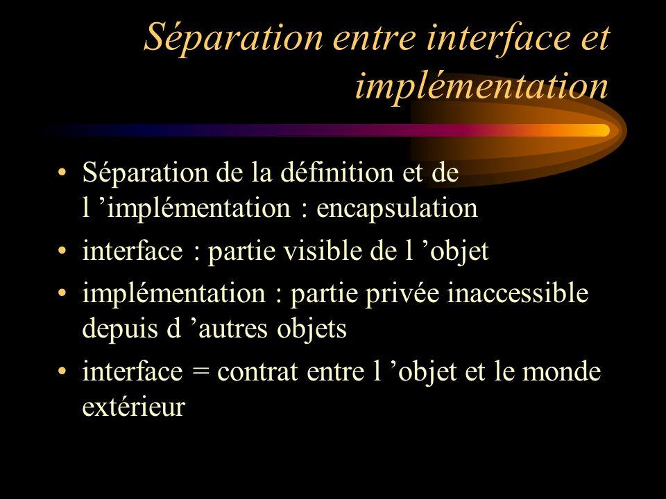 Séparation entre interface et implémentation Séparation de la définition et de l implémentation : encapsulation interface : partie visible de l objet